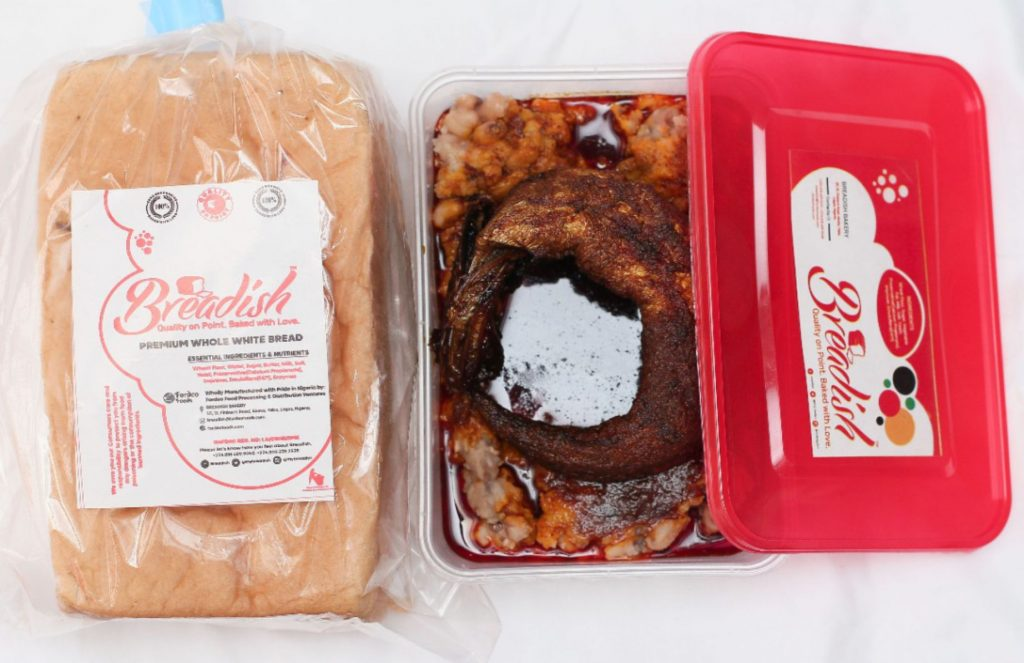 Whole White Mini Loaf + Ewa Agoyin Special with Ponmo or Smoked Fish